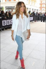 2. For casual Friday look try blue jeans with a white cardigan or jacket like JLo
