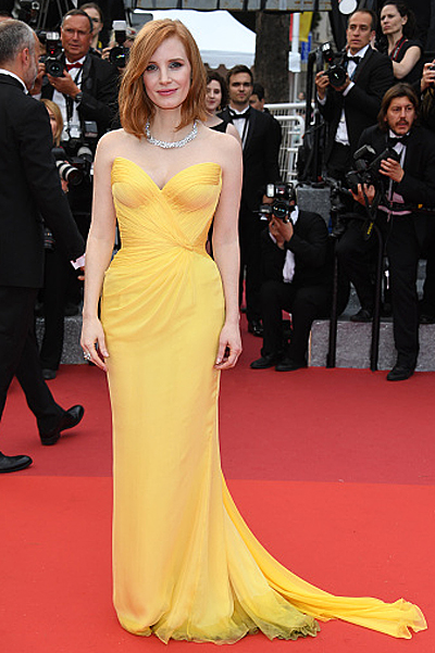 CANNES, FRANCE - MAY 11: Jessica Chastain attends the 'Cafe Society' premiere and the Opening Night Gala during the 69th annual Cannes Film Festival at the Palais des Festivals on May 11, 2016 in Cannes, . (Photo by Venturelli/WireImage)